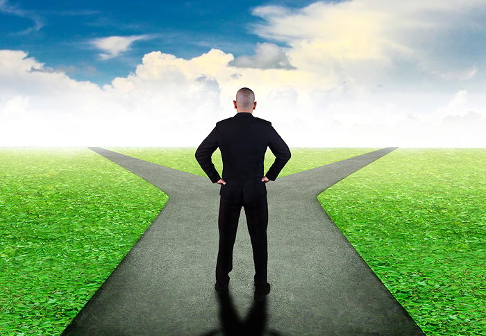 Man in the crossroads decision-making illustration