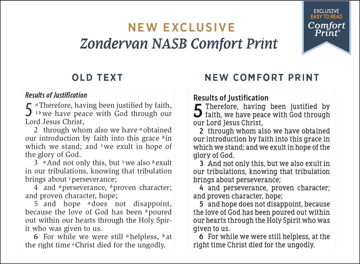 NASB Comfort Print Font Comparison