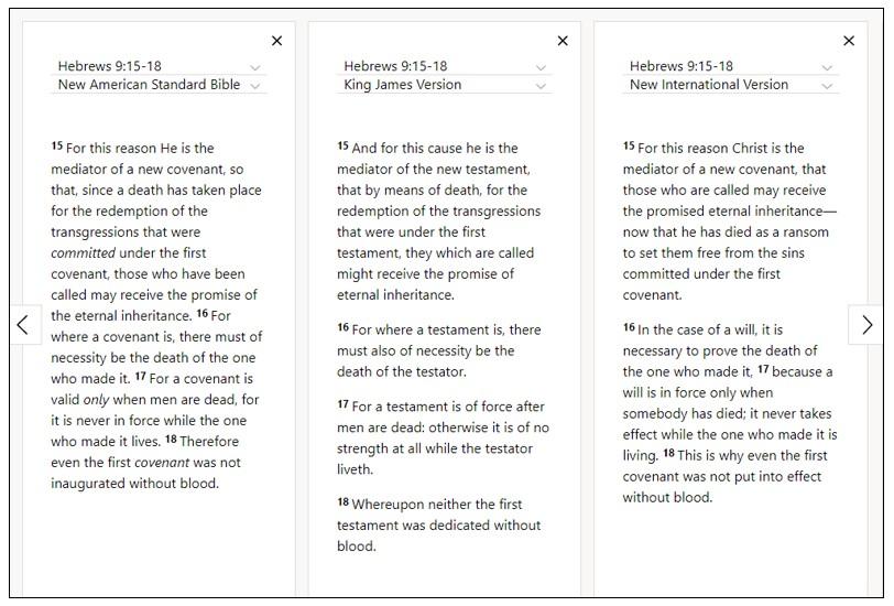 Read Hebrews 9:15-18 (NASB, KJV, NIV in parallel) on Bible Gateway