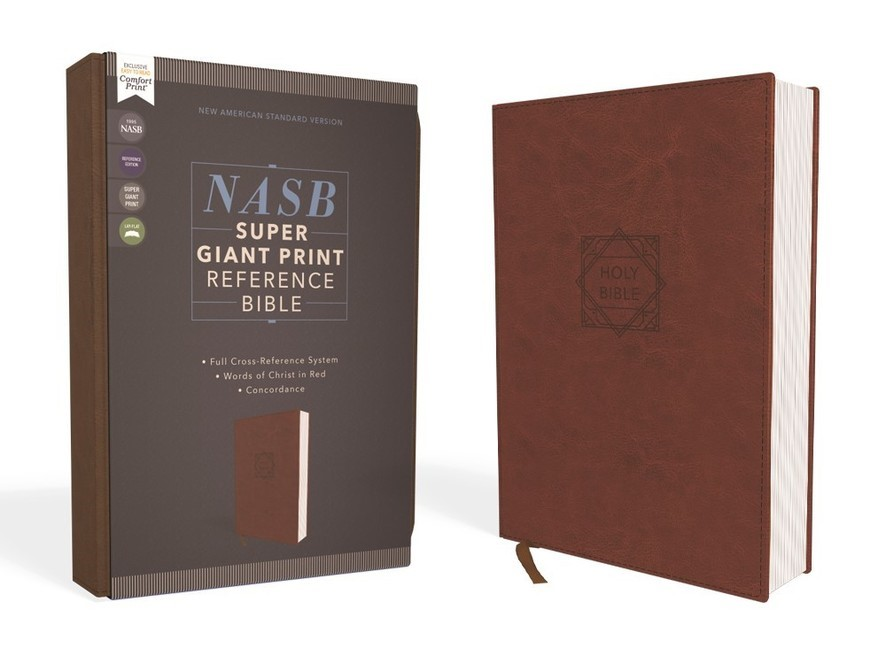 Buy your copy of the NASB Super Giant Print Reference Bible, Leathersoft, Brown, Red Letter Edition, 1995 Text, Comfort Print in the FaithGateway Store where you'll enjoy low prices every day