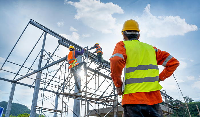 Construction workers to illustrate the importance of work