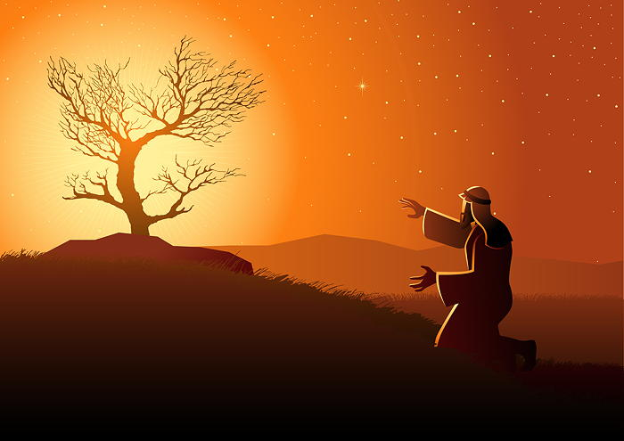 An illustration of Moses and the burning bush