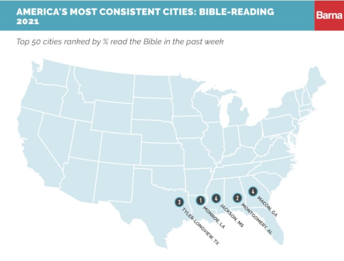 Map of USA Cities Most Committed to Weekly Bible-Reading