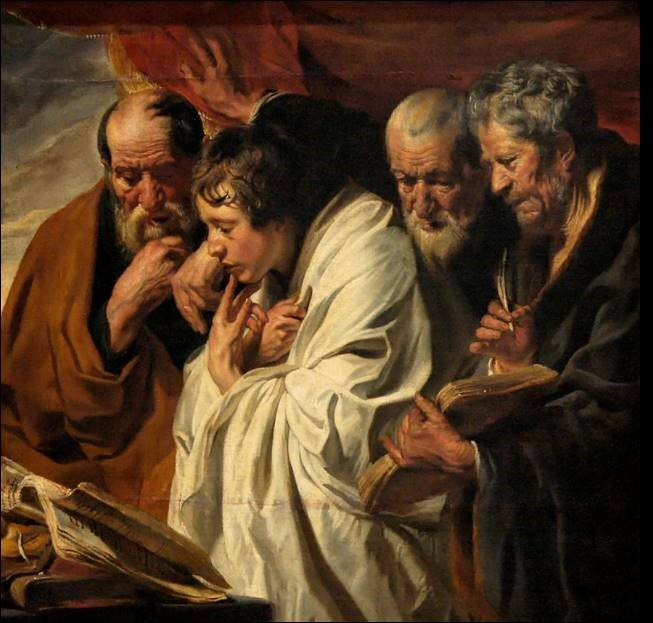 The paining, The Four Evangelists (1625–1630) by Jacob Jordaens