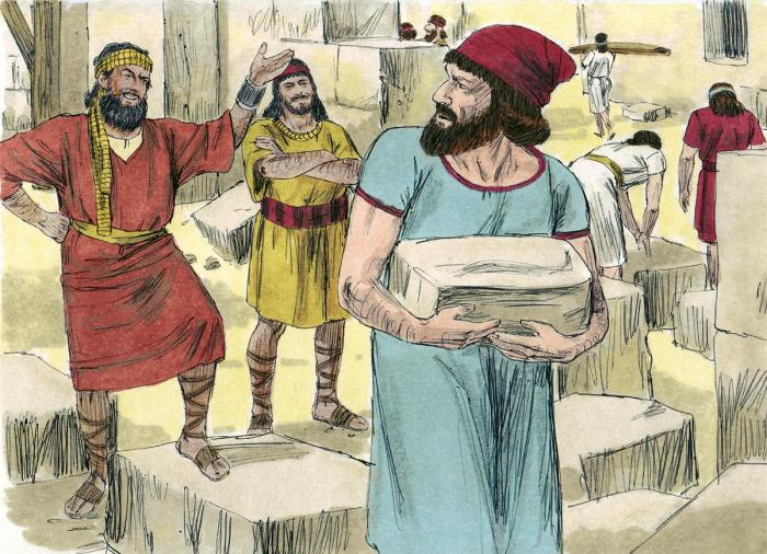 Illustration of Nehemiah rebuilding the wall around Jerusalem