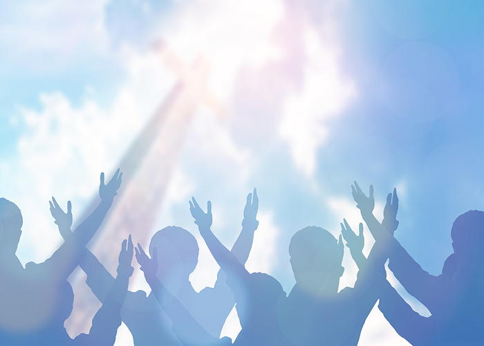 Illustration of people lifting their arms and hands in worship