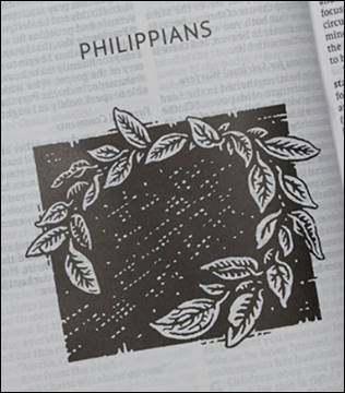 Woodcut image for the book of Philippians in the NET Bible, Thinline Art Edition