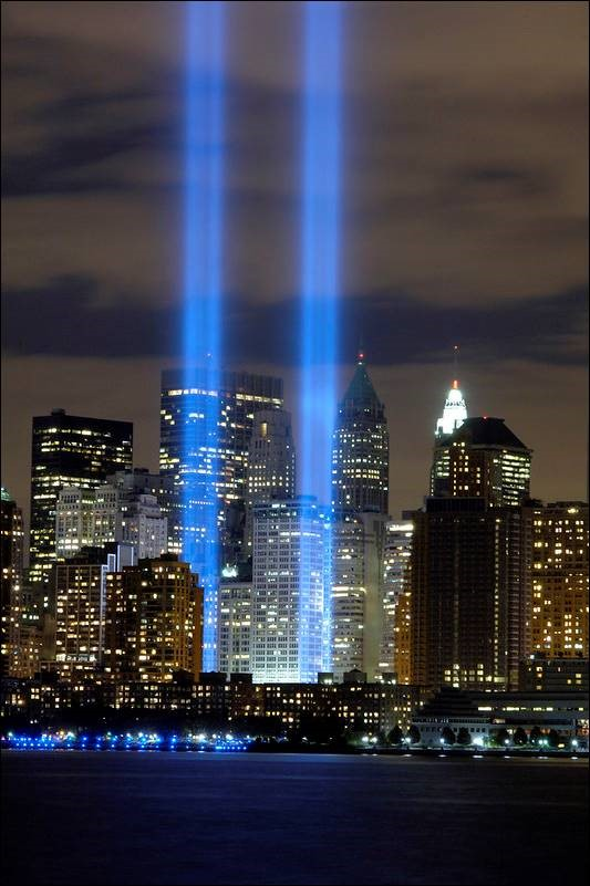 The Tribute in Light memorial is in remembrance of the events of September 11, 2001, in honor of the citizens who lost their lives in the World Trade Center attacks.