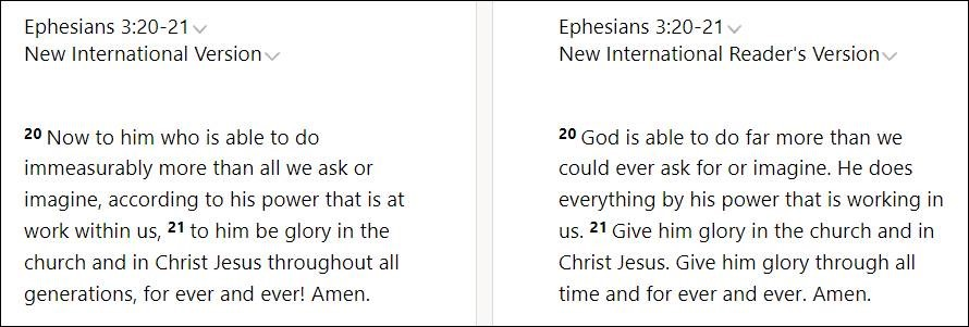 Comparing Ephesians 3:20-21 in the NIV and NIrV Bible translations to show how the NIrV keeps sentence length to 15 words or fewer.