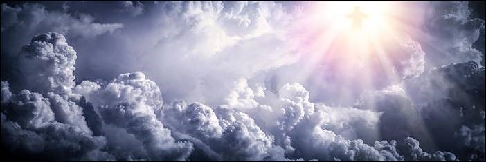 Image of light bursting through clouds to illustrated Christ returning
