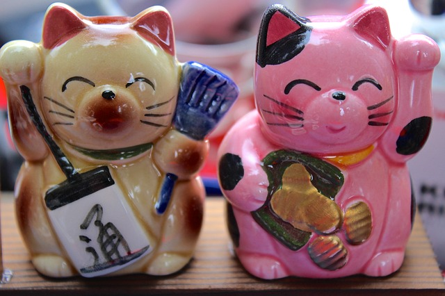 lucky cats, called maneki-neko is a sign of good luck in Japan.
