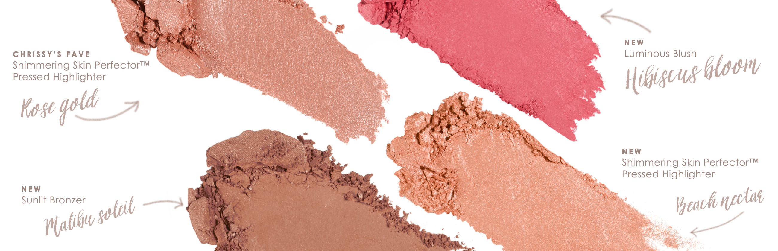 BECCA x Chrissy Glow Face Palette Colors: Rose Gold, Hibiscus Bloom, Malibu Soleil, and Beach Nectar.