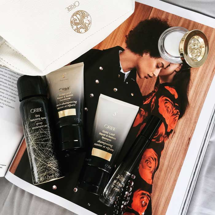 Oribe gold lust shampoo and conditioner travel size