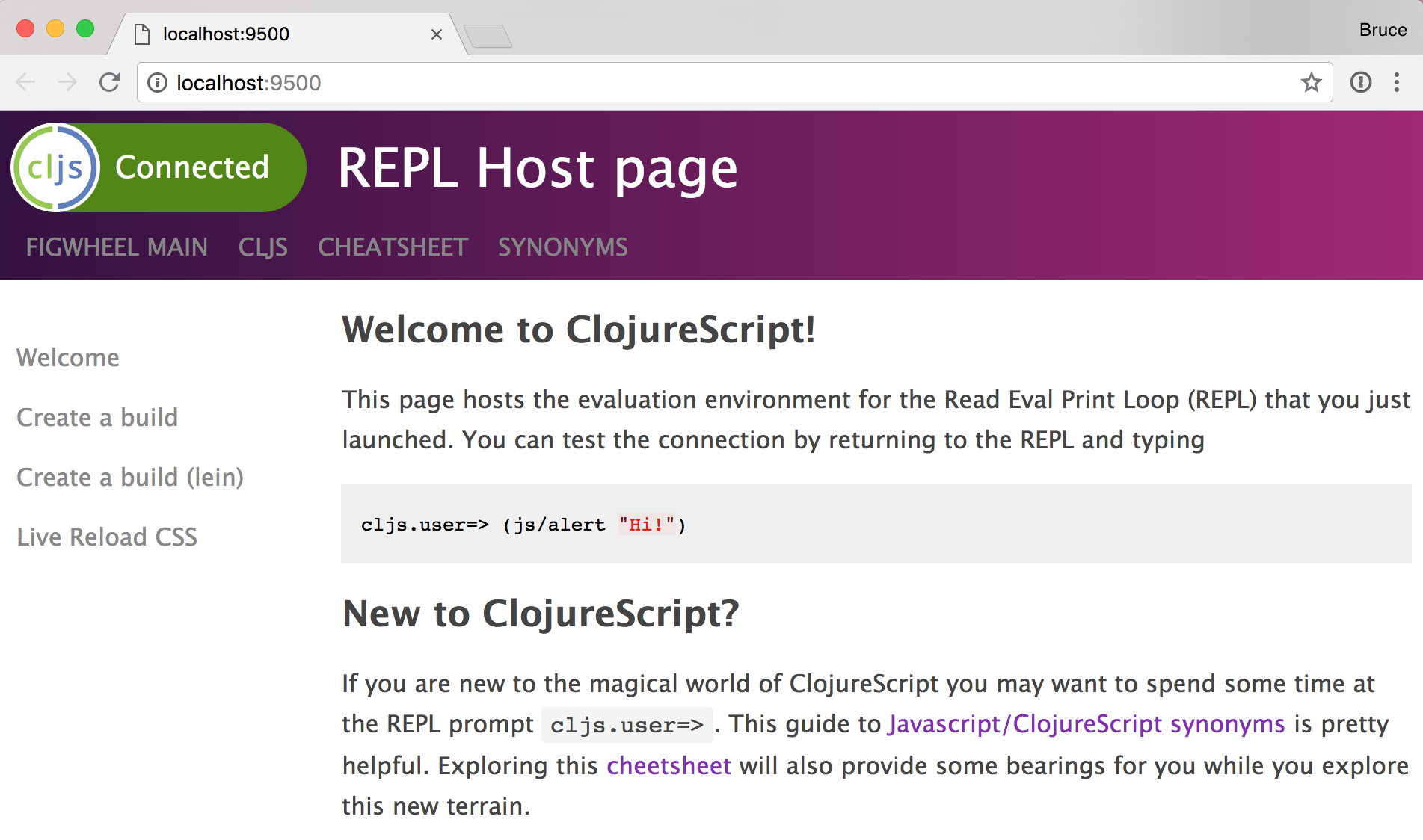 Repl host page in browser