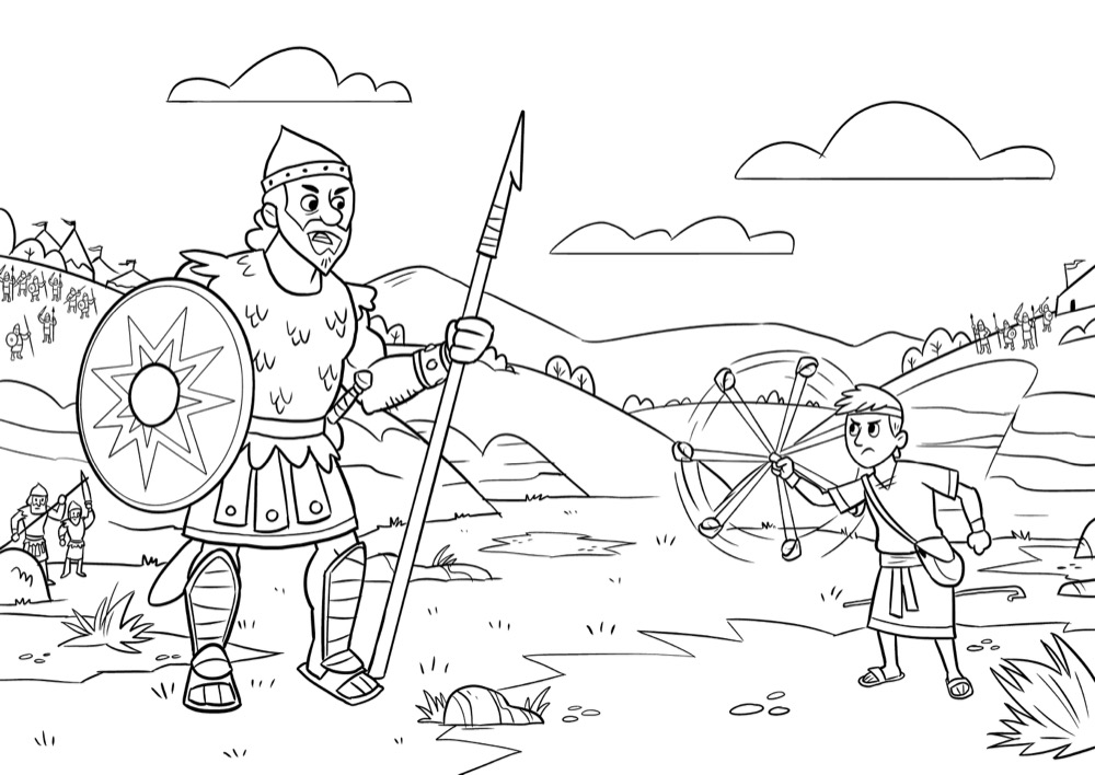 picture regarding David and Goliath Printable Story named Bible Application for Little ones Coloring Sheets