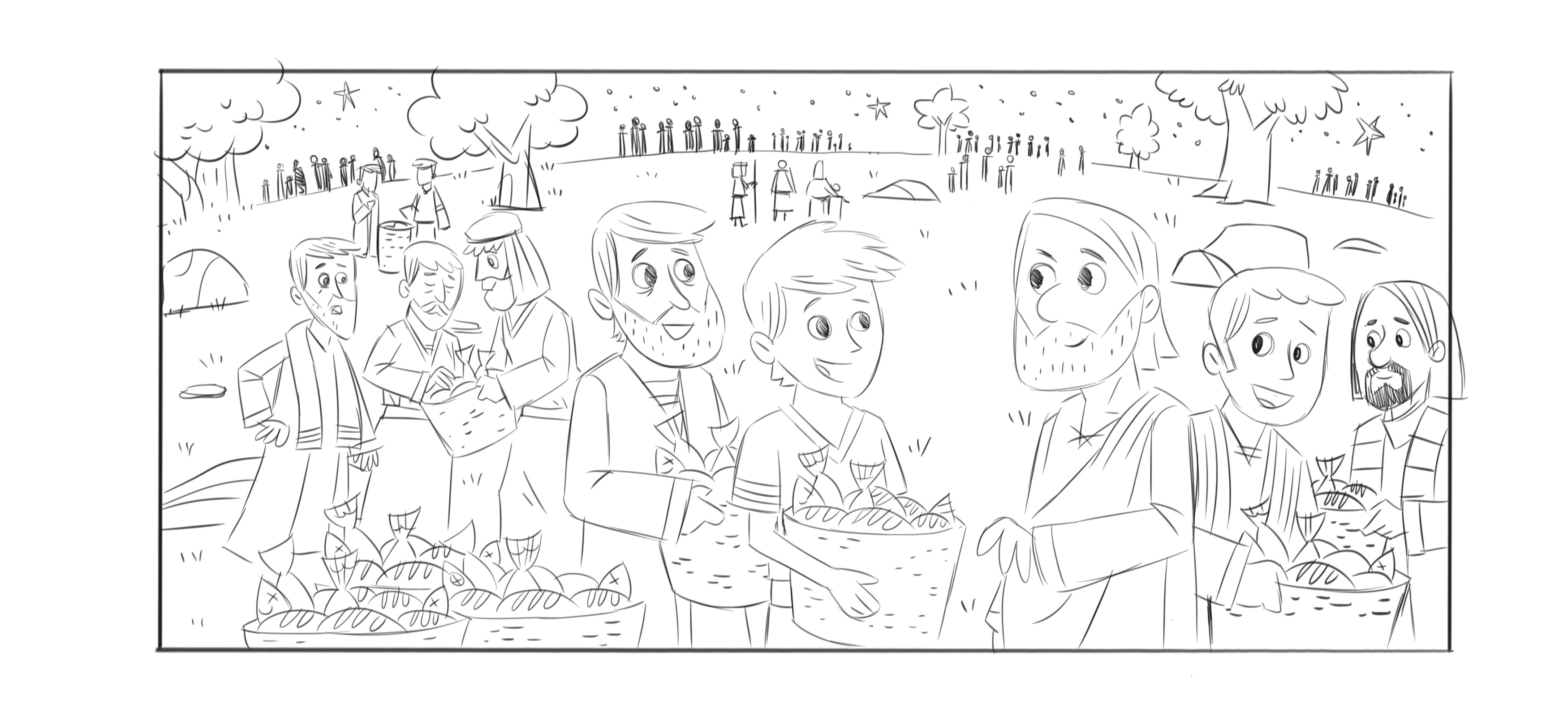 jesus feeds 5000 loaves and fishes coloring page. loaves and ...