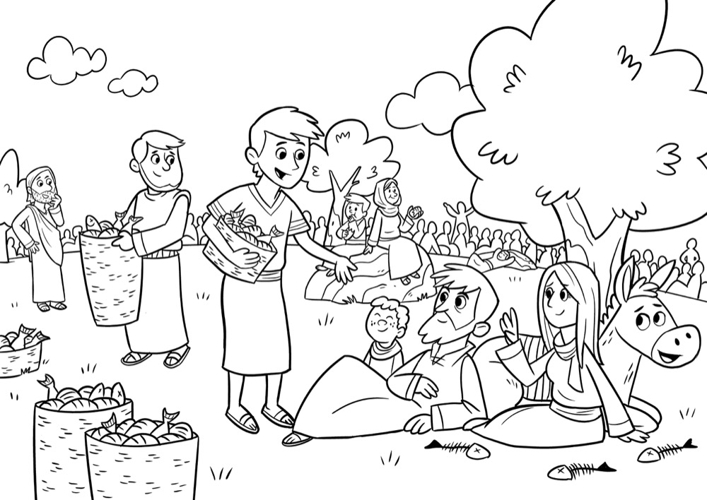 Jesus feeds 5,000, Bible App for Kids Story, The Big Picnic ...