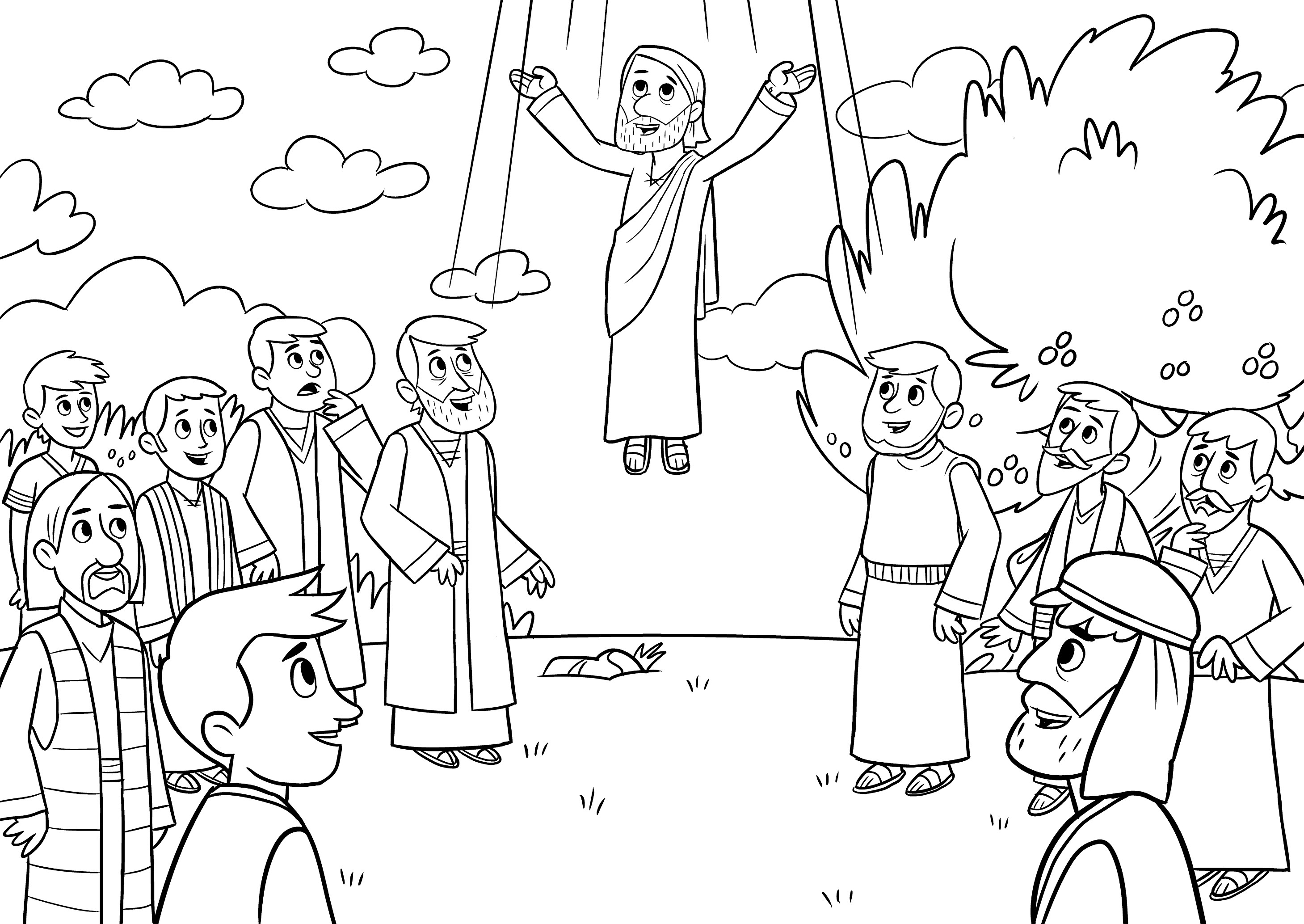 Beautiful Jesus ascends to Heaven Coloring Page | Top Free ...
