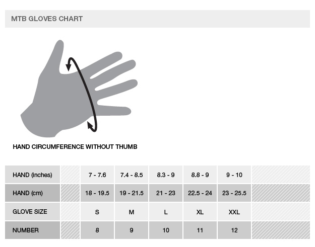 Alpinestars MTB gloves Sizing Chart