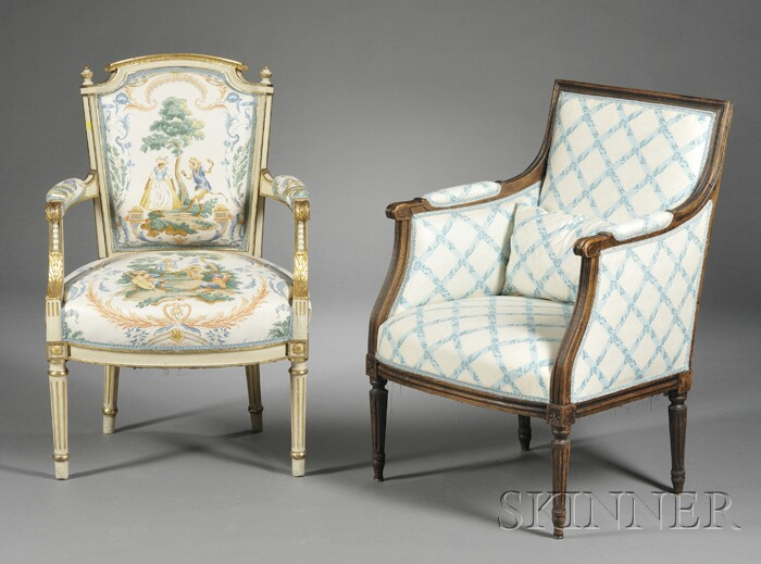 Louis xvi style fauteuil and bergere bidsquare - Fauteuil bergere moderne ...