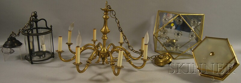 Virginia Metalcrafters brass hanging chandelier, | Bidsquare:lot image,Lighting