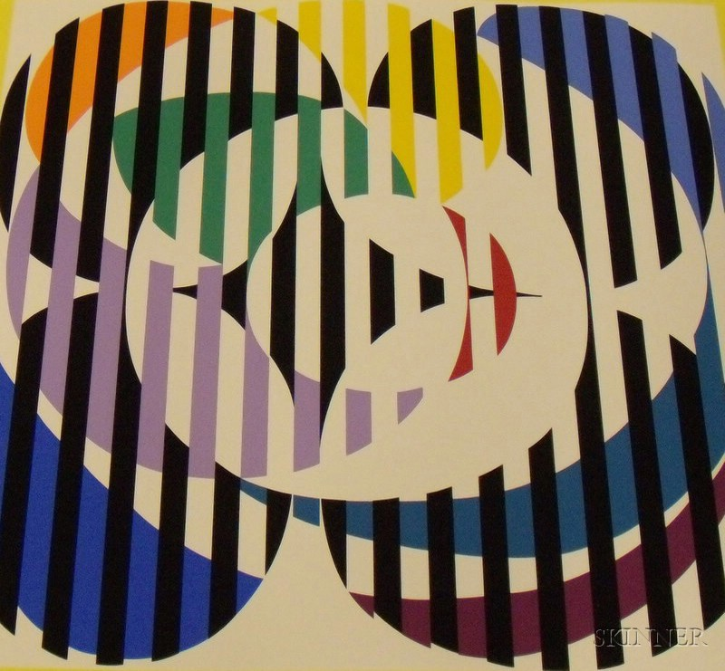 Lot of Three Unframed Yaacov Agam Serigraphs of Abstract ...