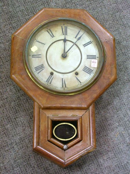 Seth thomas drop octagon walnut veneer wall clock bidsquare for Seth thomas wall clocks value