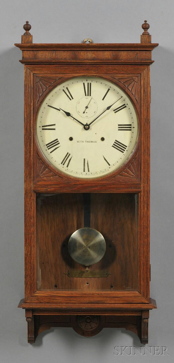 Seth thomas thirty day oak wall clock bidsquare for Seth thomas wall clocks value