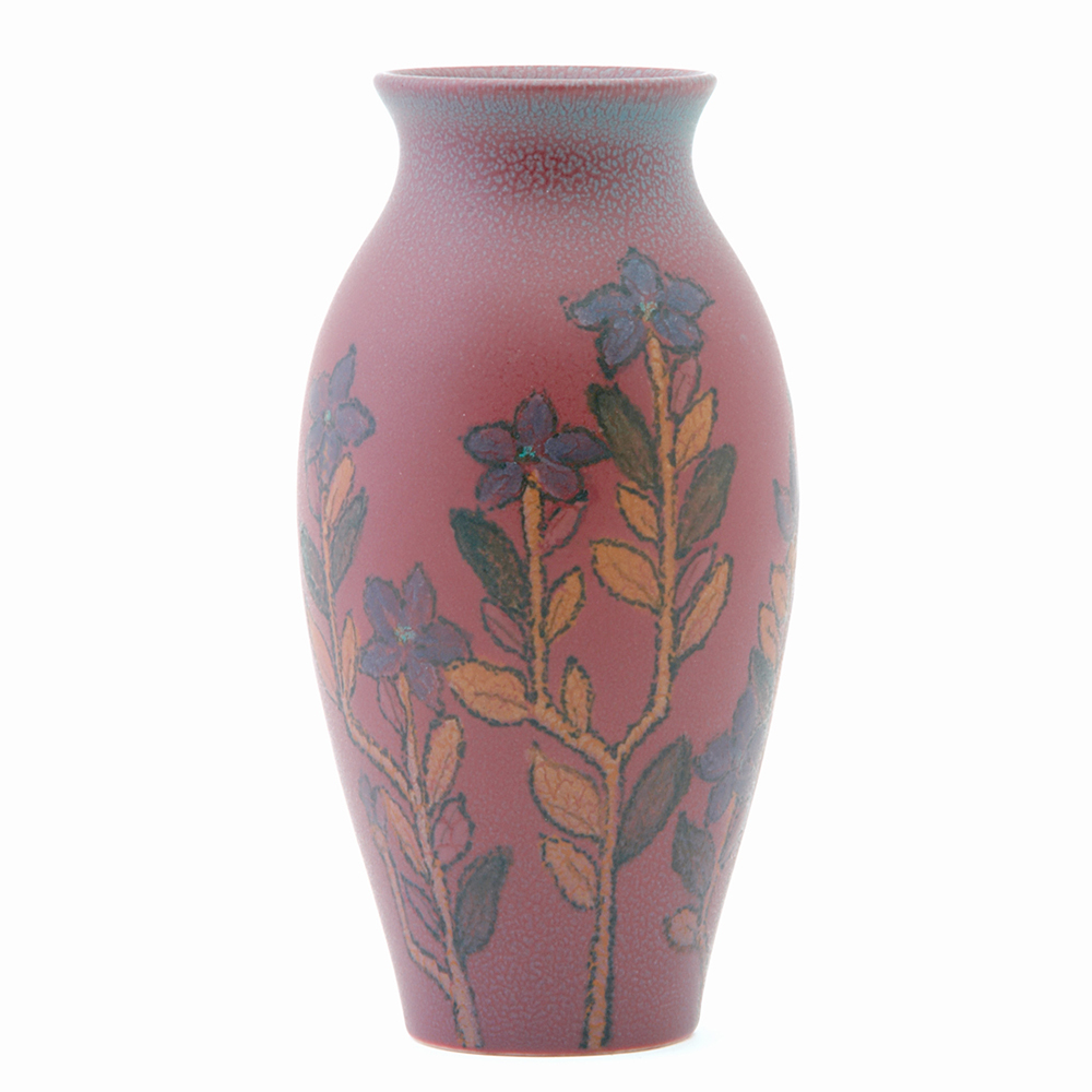 Rookwood Wax Matte vase painted by Mary Helen McDonald and/or Louise Abel with purple nicotina plants on a raspberry ground, 1922. Sale Price: $1,920, Rago Arts & Auction Center