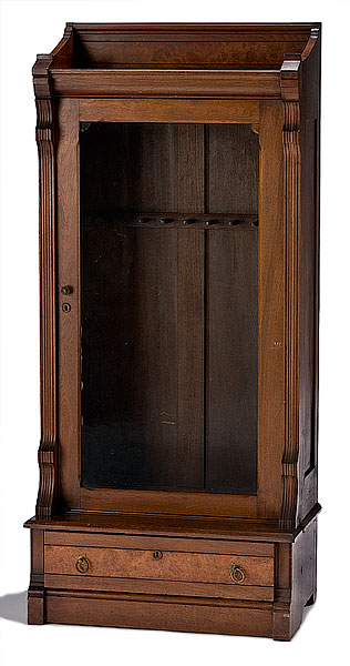 Eastlake Style Antique Walnut Gun Cabinet, | Bidsquare