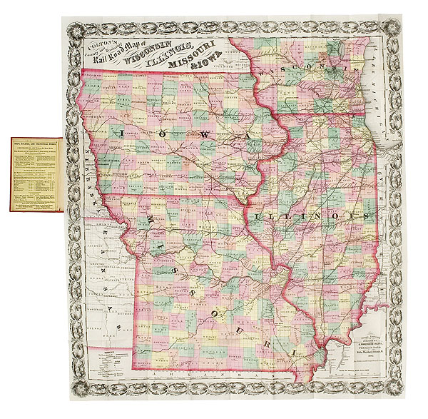 Coltons Pocket Map Of Wisconsin Illinois Missouri And Iowa - Map of illinois and missouri
