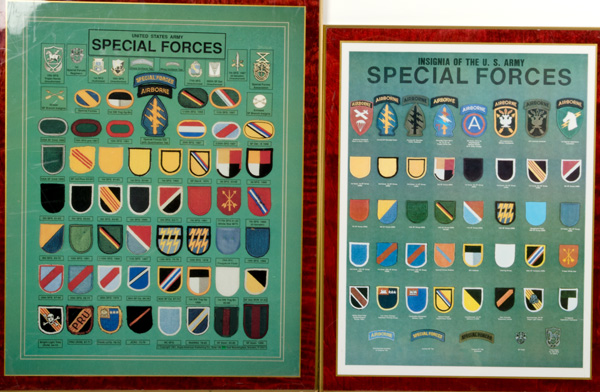 Us Vietnam Era Special Forces Display Boards Of Patches