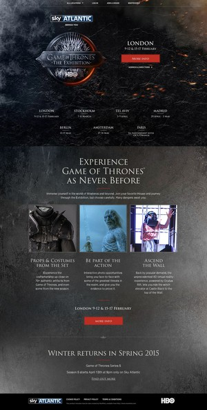 Game of Thrones: The Exhibition: The Homepage Template: The Desktop Version!