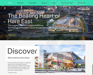 Here East homepage template, desktop view