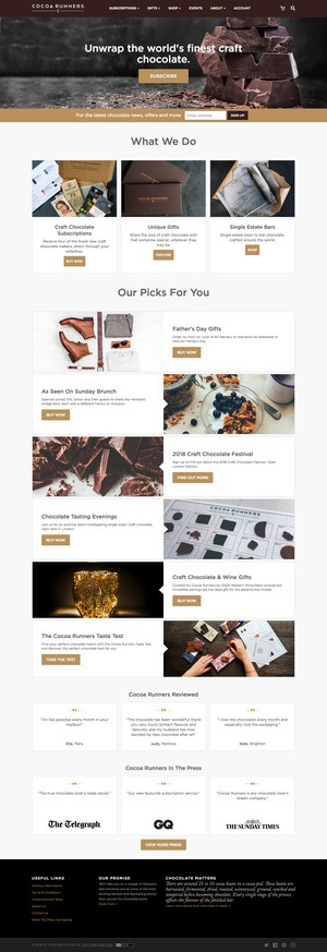 Cocoa Runners homepage template, desktop layout
