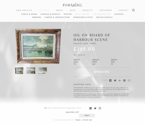 Fontaine product detail view, desktop layout