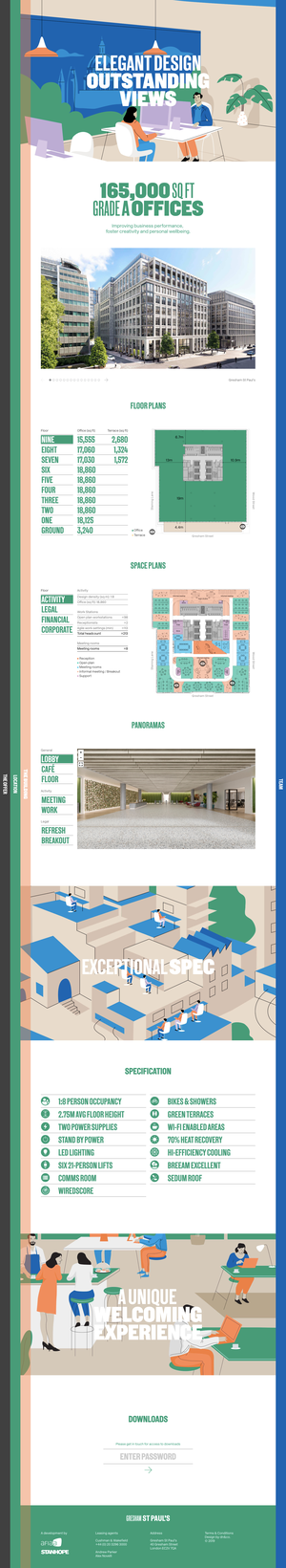 Desktop view of the Building template, which shows the various features and specifications of the development