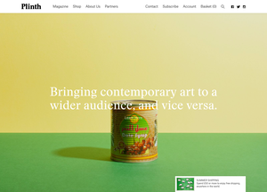 Plinth homepage template, desktop layout
