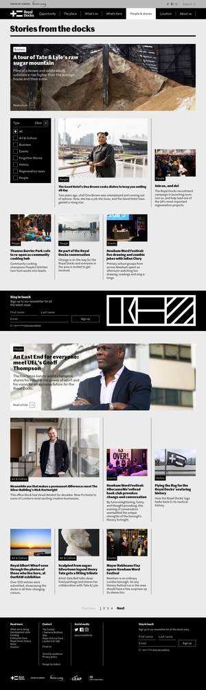 Desktop view of the People & Stories article index page, with its distinctive grid layout