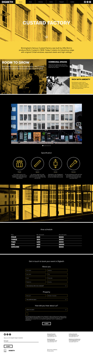 Desktop layout of the building detail template