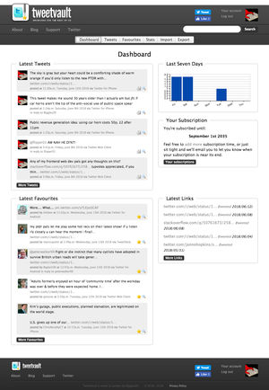 The TweetVault dashboard view