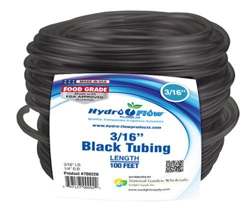Hydro Flow Vinyl Tubing Black 3/16 in ID - 1/4 in OD 100 ft Roll