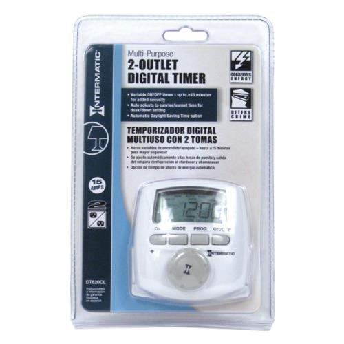 Intermatic 2 Outlet Digital Timer DT620CL 120 Volt