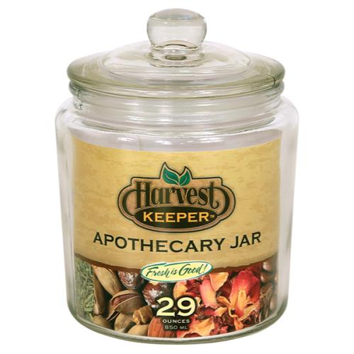 Harvest Keeper Glass Storage Apothecary Jar w/ Sealed Lid - 29 oz