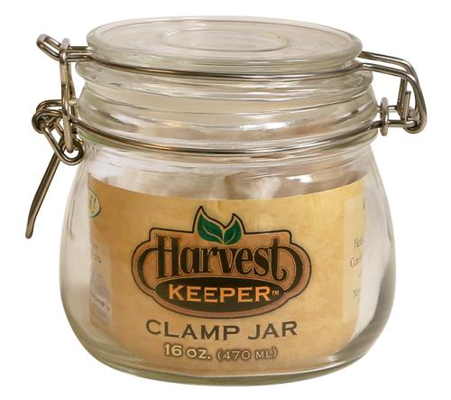 Harvest Keeper Glass Storage Jar w/ Metal Clamp Lid -16 oz
