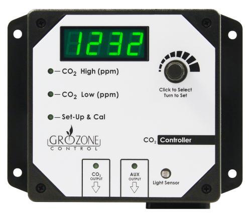 Grozone Control CO2R 0-5000 PPM CO2 Controller w/ AUX Output & High Temp