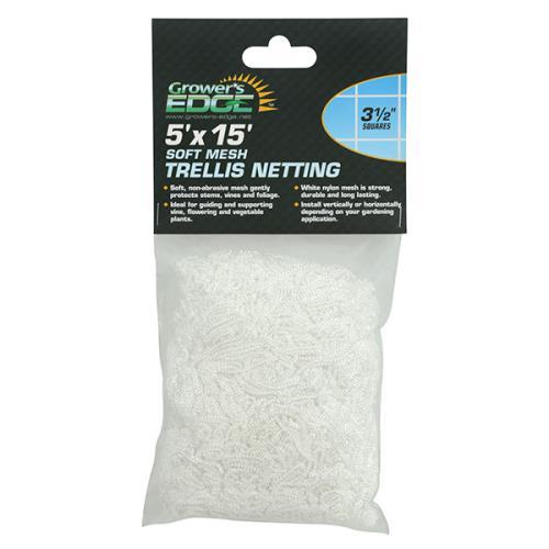 Grower's Edge Soft Mesh Trellis Netting 5 ft x 15 ft w/ 3.5 in Squares (12/Cs)