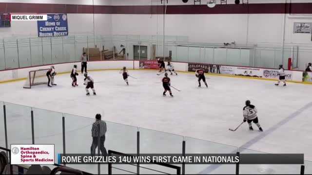 Image for State champion Rome Grizzlies 14U girls ice hockey team opens National Championships with a win