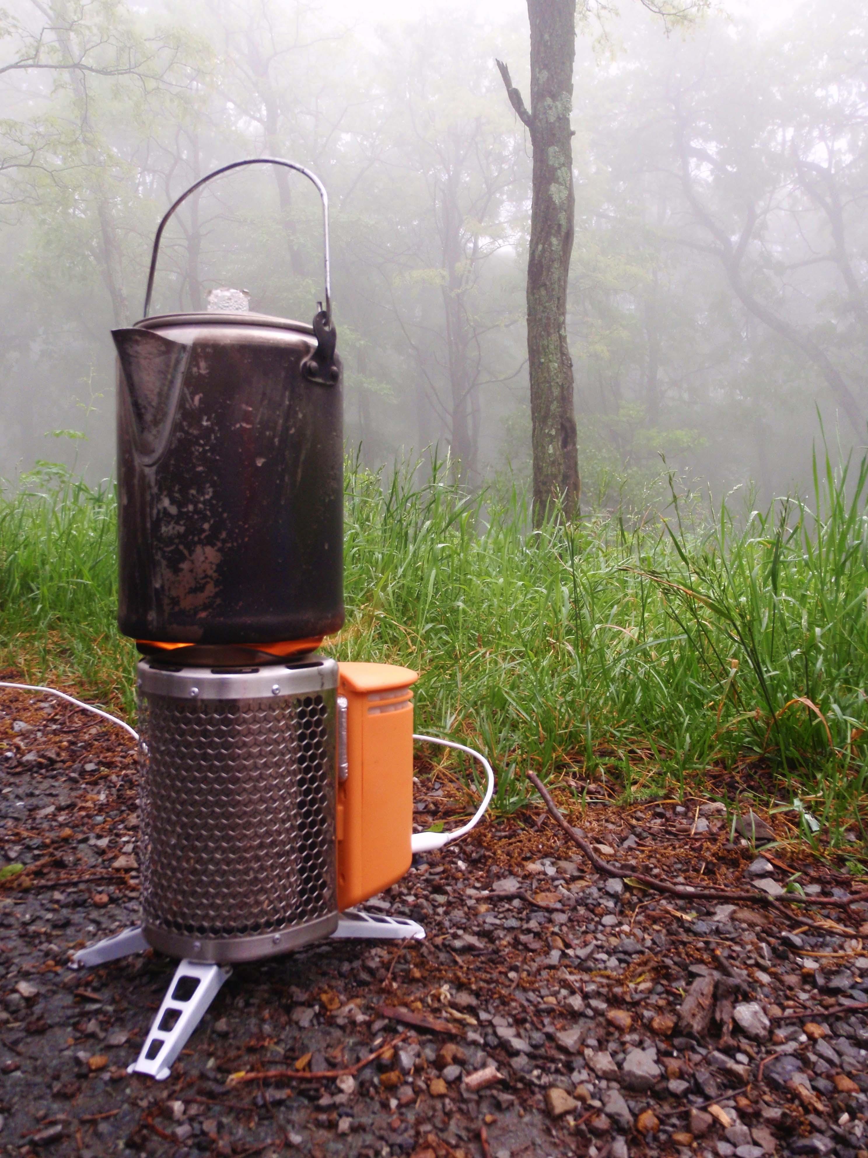 BioLite CampStove Boiling Tea at Shenadoah