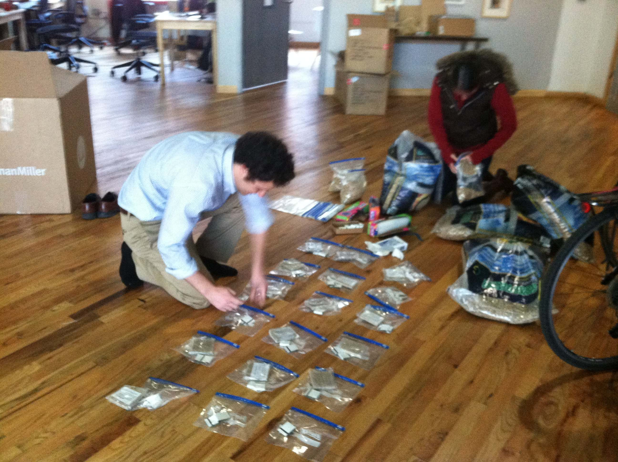 BioLite staff preparing emergency CampStove kits